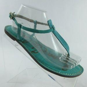Sam Edelman Turquoise Snake Thong T-Strap Sandals